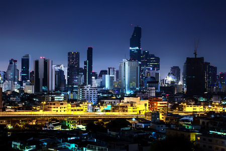 Beautiful night city, Modern night cityscape of Bangkok Thailand, urban and street in the night, futuristic architecture nighttime illumination.