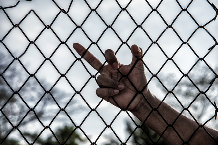 metal grid: Hand with mesh cage, Hands with steel mesh fence. Stock Photo