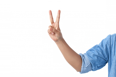 counting front hand with a shoulder in a jean shirt., isolated on white background