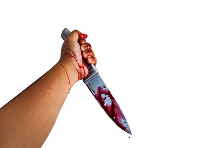 close-up of man holding knife smeared with blood and still dripping., Isolated on white background. Standard-Bild
