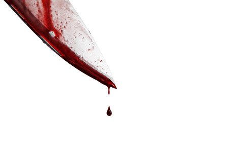 smeared: close-up of man holding knife smeared with blood and still dripping., Isolated on white background. Stock Photo