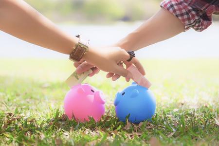handen van jonge mannen en jonge vrouwen steken geld in kleurrijke piggy bank varkens op het gazon om een gezin te houden., Paar bespaart geld met een spaarvarken.