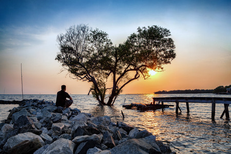man in frustrated depression sitting alone on the rock dam extended into the sea and looking at tree in the shape of heart on sunset., the concept of lonely, sadness, depressed and broken heart. Foto de archivo