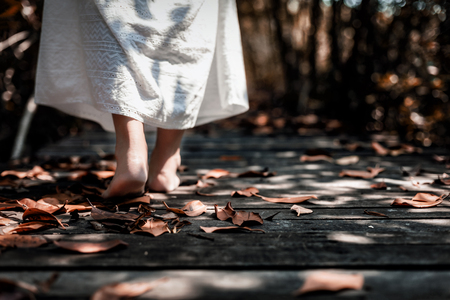 Low angle view of beautiful mysterious woman in white dress walking barefoot on the old wooden bridge extended into the dark forest., Many dried leaves are covered on the floor.