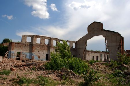 destroyed building of factory photo