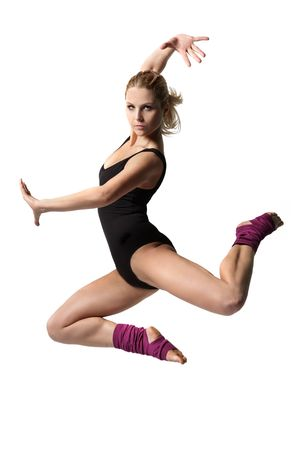 jazz dance: sport style girl  jumping  Stock Photo