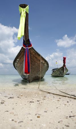 longtail parked on the ko poda island in thailand Stock Photo - 3029870