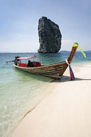 long tail boat on the seacost, krabi, thailand Stock Photo - 3029889