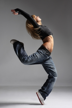 breakdance: young female dancing jazz modern dance