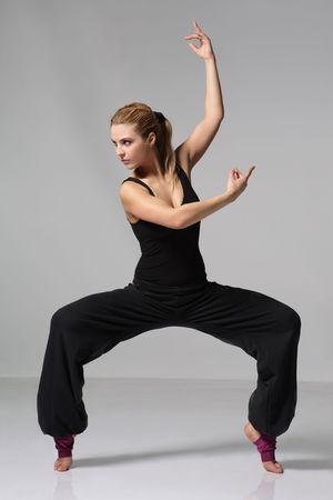 young female dancing jazz modern dance photo