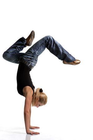 teen dance: young female dancing jazz modern dance