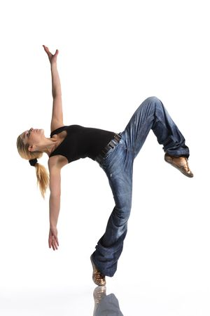 aerobica: young female dancing jazz modern dance