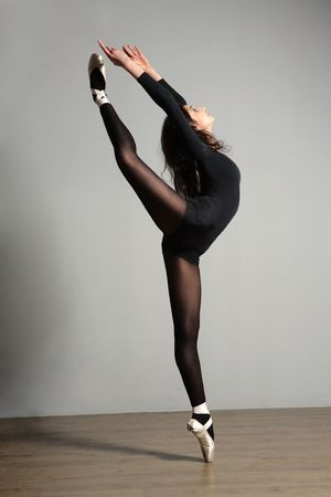 performing: young, cute and beautiful ballet dancer posing