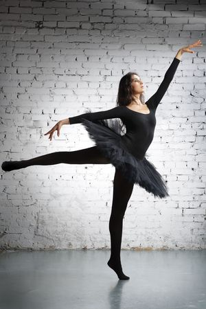 ballerina shoes: cute, young and beautiful ballet dancer posing Stock Photo
