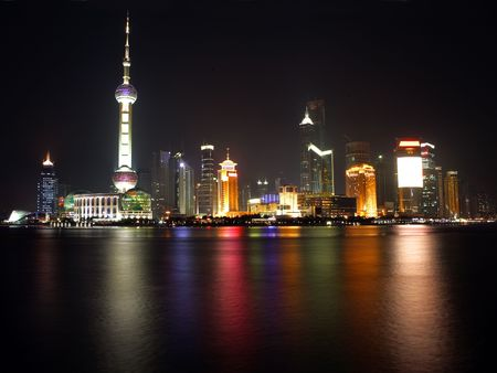 megapolis:  Night view of Shanghai, China