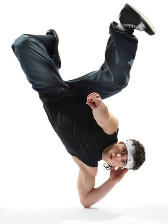 cool looking breakdancer posing on a isolated background Stock Photo - 3029736