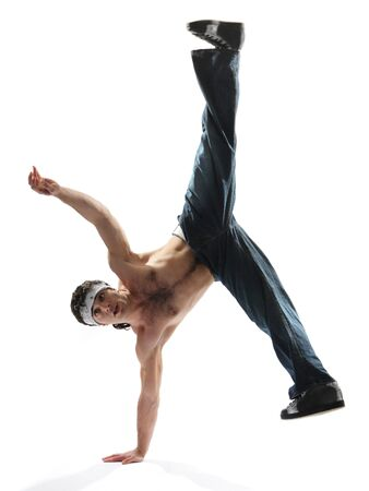 aerobica: cool looking breakdancer posing on a isolated background