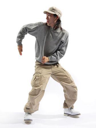 aerobica: hip-hop dancer posing on a white background