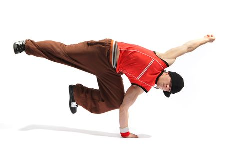 hip-hop style dancer posing on isolated background Stock Photo - 3029742
