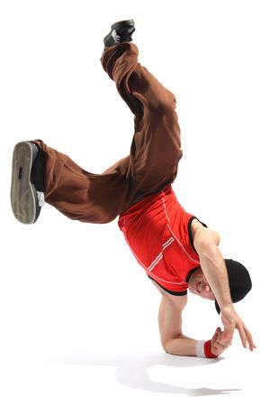 hip-hop style dancer posing on a white background photo