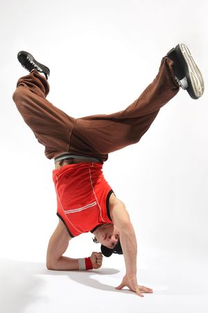 aerobica: hip-hop style dancer posing on isolated background Stock Photo