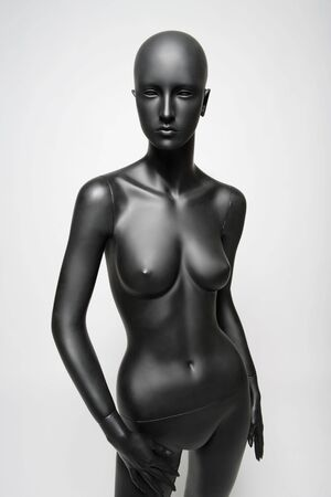 standing alone: beautiful mannequin standing alone on the light white background
