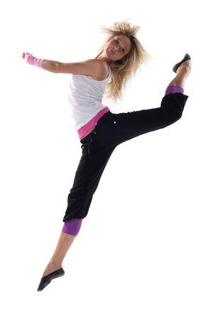 ballet girl: young beautiful modern ballet style dancer posing on studio background Stock Photo