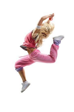 stylish beautiful dancer posing on white background