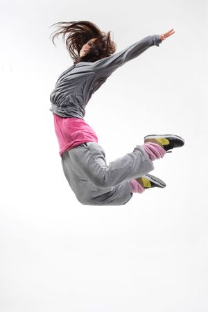 beautiful young hip-hop dancer posing on white background Stock Photo - 3242767