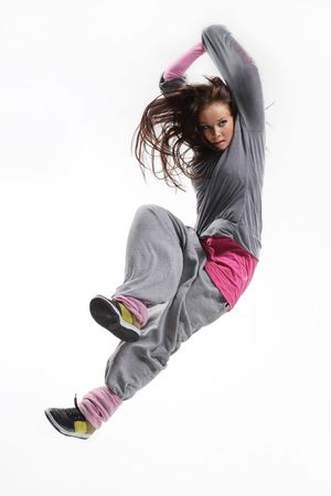 cool looking and stylish hip-hop dancer posing on white background Stock Photo - 3400070