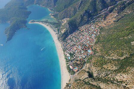 oludeniz: aerial view of oludeniz bay in turkey