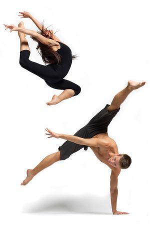 male ballet dancer: modern ballet dancer posing over white background