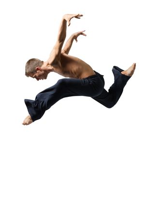 young man jumping high on isolated white photo