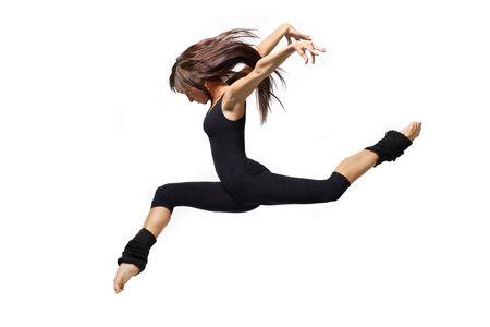 turnanzug: moderne Ballett�nzerin stellt �ber wei�em Hintergrund