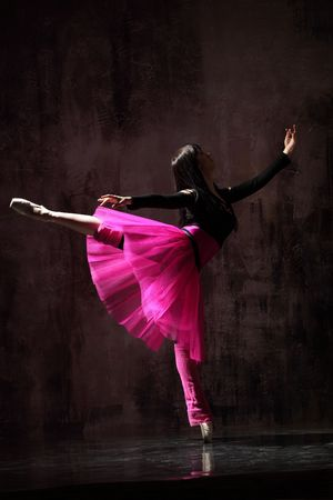 modern style dancer jumping on dirty grunge background Stock Photo - 5158739