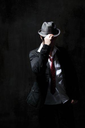 modern style dancer posing on dirty grunge background