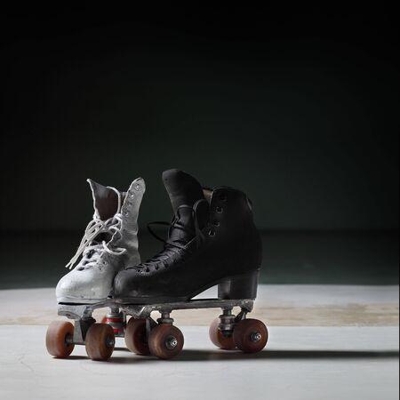 sports attire: Old retro roller skates front view Stock Photo