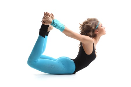 female doing aerobic exercises in sports clothing