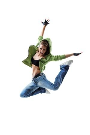 modern style dancer posing on white background photo