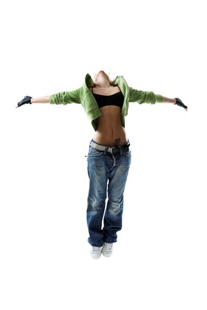 modern style dancer jumping on isolated background photo