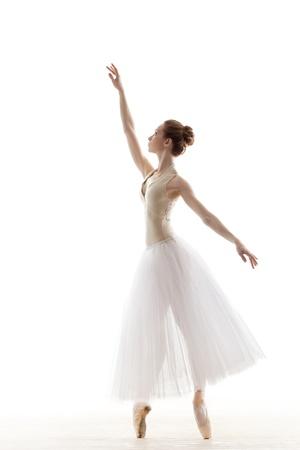 silhouette of ballerina in classical tutu in the white studio Stok Fotoğraf - 17535426