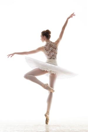 silhouette of ballerina in classical tutu in the white studio Stock Photo - 17535433