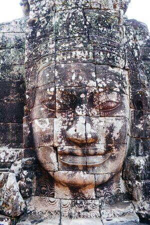 bayon: Face of bodhisattva Avalokitesvara in ancient temple Bayon, Siem Reap, Cambodia