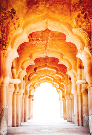monument in india: Details of royal Lotus Mahal, Hampi, India Stock Photo
