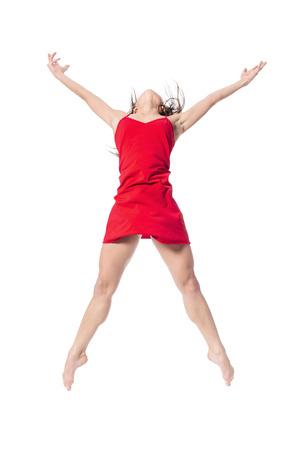 schöne Ballett-Tänzerin posiert auf weißem Hintergrund isoliert