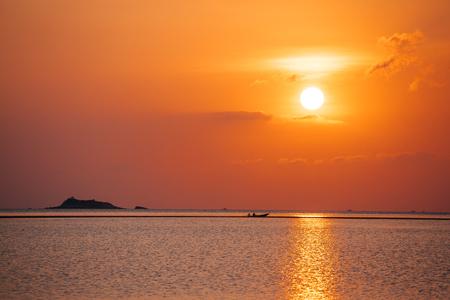Sea sunset in Koh Phangan island, Thailand. photo