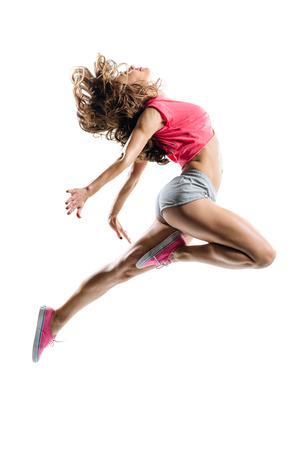 danza moderna: joven bailarín de hip-hop que presenta en estudio Foto de archivo