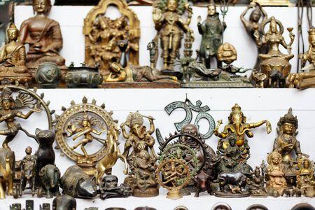 fleamarket: Small bronze sculptures at goan fleamarket, Goa, India.