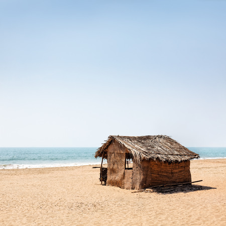 hut: A beach hut on a india seacost