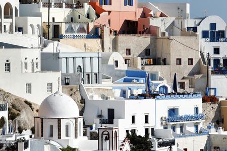 fira: close view of Fira town Stock Photo
